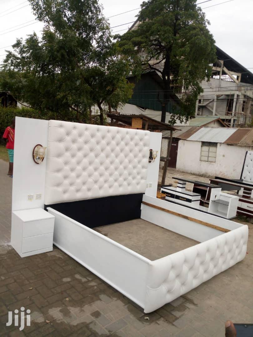 New Designer White Leather King Size Bed