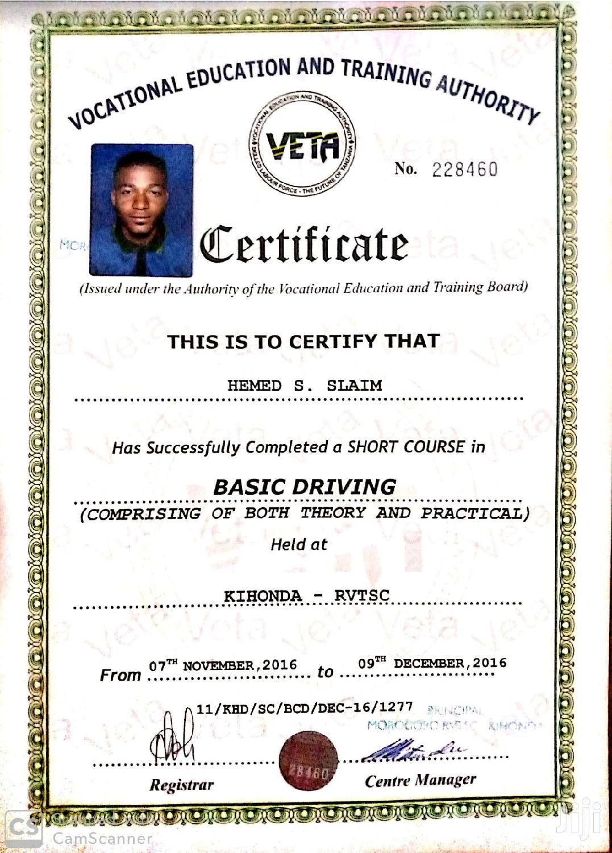 Driver Hemed | Driver CVs for sale in Kinondoni, Dar es Salaam, Tanzania
