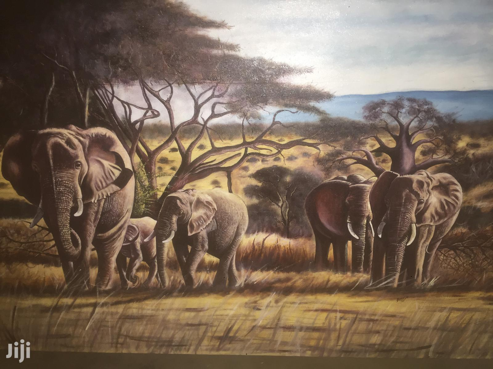 Archive: Oil Paintings Clear Elephant in Tarangire Inviroment