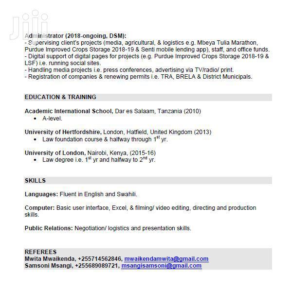 Advertising CV | Advertising & Marketing CVs for sale in Kinondoni, Dar es Salaam, Tanzania